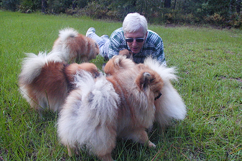 Bill with a herd of Pom Friends